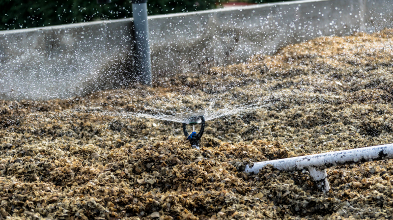 An automated irrigation system disperses wastewater across BIDA® system surface. Photo courtesy of Sina Pram, BioFiltro.