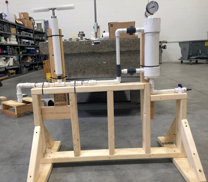 The VivaFlow prototype attempts to scale-down the desalination process. The final version is expected to be about the size of a 3.8 L (1 gal) milk jug. Photo courtesy of Nadig, VivaFlow.