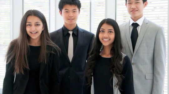 From left, Sanya Verma, Kai Lin, Mihika Nadig, and Tommy Yang bonded over a common interest in using technology towards social change during the 2016 MIT Launch Summer program. Photo courtesy of Mihika Nadig, VivaFlow.