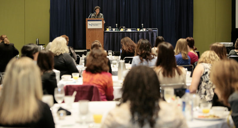 Debra Shore, comissioner for the Metropolitan Water Reclamation District of Greater Chicago, gives the keynote speech at the first annual breakfast. Photo courtesy of Oscar Einzig Photography.