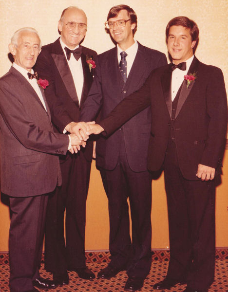 In 1982, Robert (Bob) Canham Jr. (right) received the Philip F. Morgan Medal for his master's thesis. Four generations of water education stand together. Bob stands with, from left, Abel Wolman, a former professor of sanitary engineering at Johns Hopkins University (Baltimore); Gloyna, Wolman's former student and Dean Emeritus at The University of Texas at Austin; and Clifford Randall, Gloyna's former student, Bob's teacher, and professor at Virginia Polytechnic University (Blacksburg). WEF Archives photo.