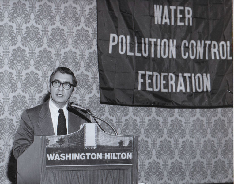 Robert speaks at a WEF, then known as the Water Pollution Control Federation event in Washington, D.C. WEF Archives photo.