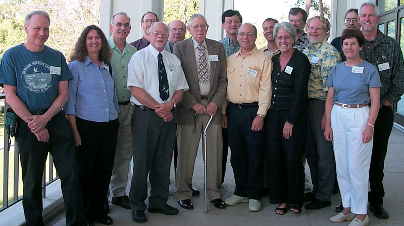 In 2004, Reish (seventh from left) stands with some of his former graduate students which include other journal coauthors, Mearns (fifth from left) and Phil Oshida (sixth from left). The former students gathered to honor Reish at the Southern California Academy of Sciences (Los Angeles) annual meeting. Photo courtesy of Mearns.