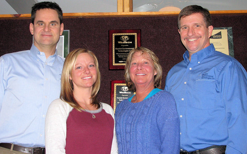 The current leadership of Hamlett Environmental Technologies Co. includes (from left) Scott Kafka; Randy and Sue's daughter, Jennifer Zelski; Sue Hamlett; and Randy Hamlett. Photo courtesy of Hamlett Environmental Technologies Co. (Howell, Mich.).