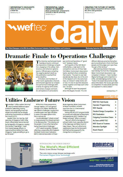 Click to see the Sept. 28 issue of the WEFTEC 2016 Daily.