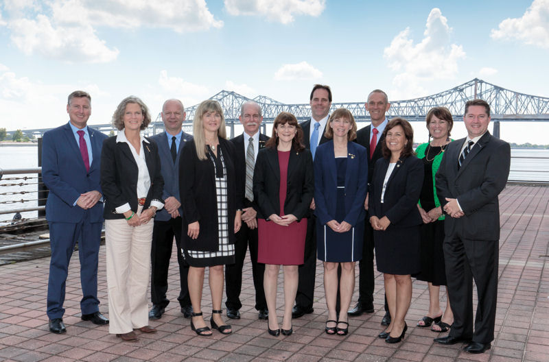 The Water Environment Federation (Alexandria, Va.) introduces its 2016–2017 Board of Trustees. Members include, from front row left, President Rick Warner, Reno, Nev.; Lynn Broaddus, Wauwatosa, Wis.; Peter Vanrolleghem, Quebec City; Karen Kubick, San Francisco; immediate past President Paul Bowen, Lawrenceville, Ga.; Secretary and Executive Director Eileen O'Neill, Alexandria, Va.; Vice President Tom Kunetz, Chicago; President-Elect; Jenny Hartfelder, Denver; Claus Homann, Aarhus, Denmark; Jacqueline Jerrell, Charlotte, N.C.; Joan Hawley, Muskego, Wis.; and Treasurer Ralph Exton, Trevose, Pa. Photo courtesy of Oscar & Associates.