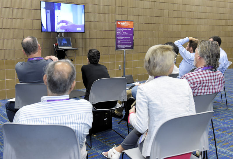 Attendees watch a video during WEFTEC 2016 IKE session. Photo courtesy of Oscar & Associates.