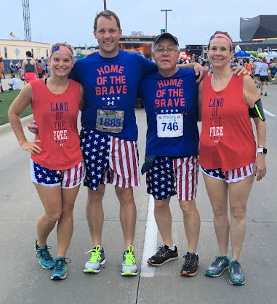 Father-son duo Jeff (middle left) and Gary (middle right) Sober share interests outside of work. Both are distance runners, pictured here with Grace Wike (far left), Jeff's fiancé , and June Sober (far right), Gary's wife. Photo courtesy of Gary and Jeff Sober.