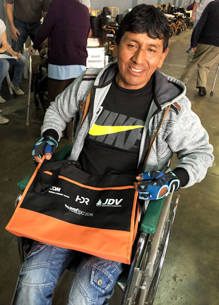 Wheels for the World is an international program that delivers and fits mobility devices to those in need across the world. A patient received a WEFTEC 2016 bag during the mission in Peru. Photo courtesy of Robert Paulette.