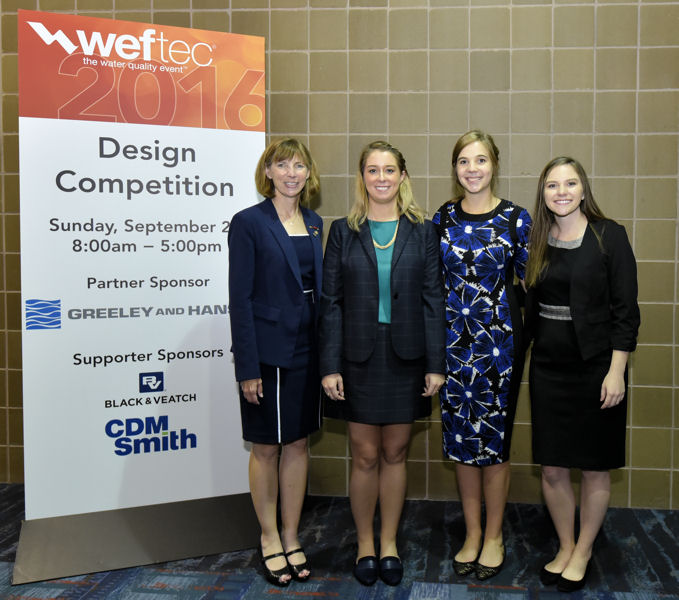 From left, Water Environment Federation (Alexandria, Va.) President-Elect Jenny Hartfelder stands with Katie Stowers, Elizabeth Boddicker, and Rachel Turner, members of the Southern Methodist University (Dallas) team that won in the wastewater design category. Photo courtesy of Oscar & Associates.