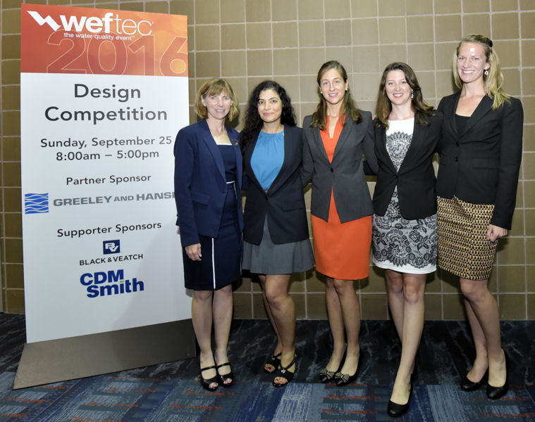 From left, Hartfelder stands with Zeinab Takbiri, Maria Garcia-Serrana, Anne Wilkinson, and Abby Tomasek, who are members of the University of Minnesota – Twin Cities (Minneapolis) team that won the environmental design category. Photo courtesy of Oscar & Associates.