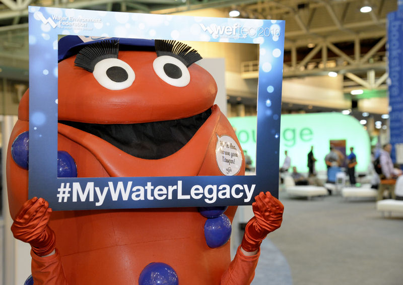 A company mascott helps spread the #MyWaterLegacy message in the WEFTEC 2016 exhibition. Photo courtesy of Oscar & Associates.