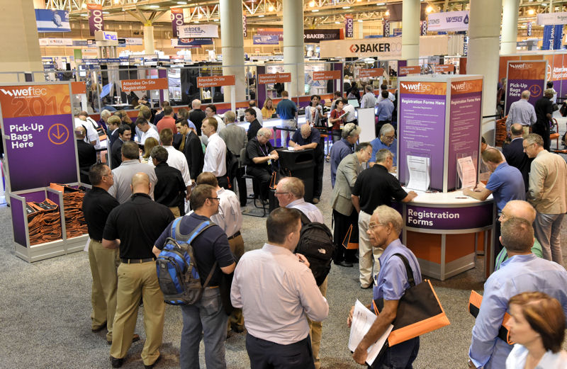 WEFTEC 2016 attendees line up to register. WEFTEC 2016 attendees explore the exhibition. Photos courtesy of Oscar & Associates.