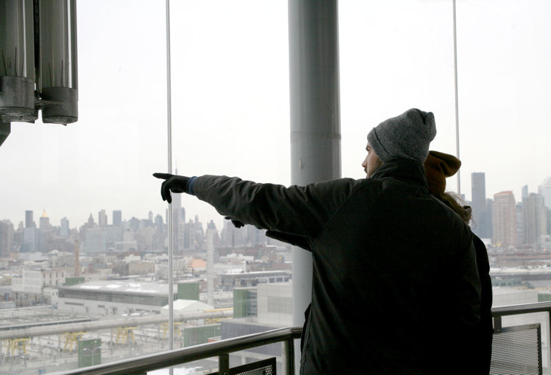 Valentine's Day tour participants enjoy scenic views of the New York skyline at the Newtown Creek facility. Photo courtesy of the New York City DEP.