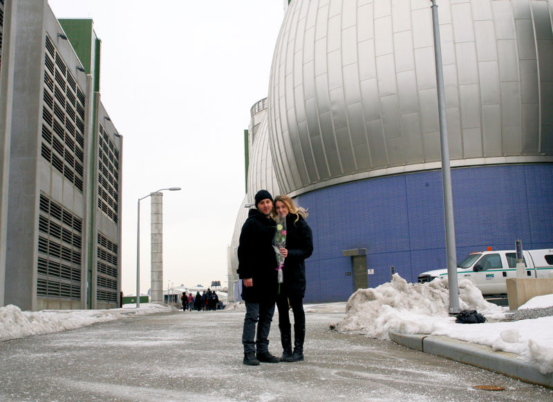 Though it may not be seen as a traditional romantic destination, hundreds of couples and others have participated in the Newtown Creek facility Valentine's Day tours since the Brooklyn facility began offering them in 2012. Photo courtesy of the New York City Department of Environmental Protection (DEP).