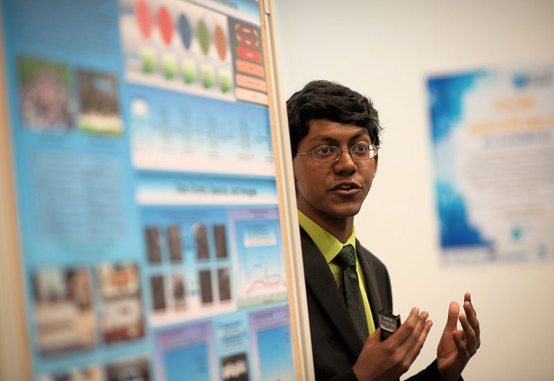Perry Alagappan presents his findings on heavy-metal removal during a Youth Forum at the Budapest Water Summit 2016. Photo courtesy of Global Water Partnership (Stockholm) Hungary.