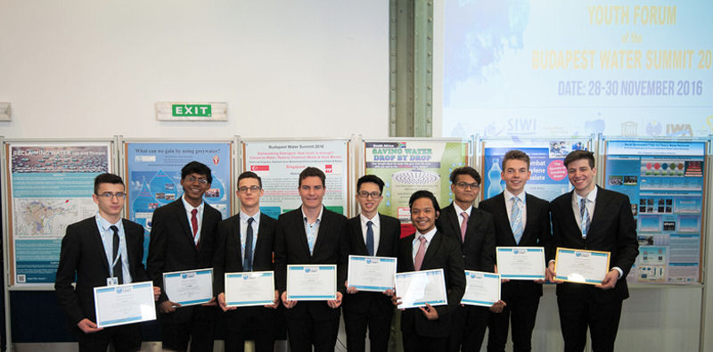 Alagappan (second from left) stands with other students who participated in the Budapest Water Summit 2016 Youth Forum holiding their certificates of appreciations presented by Áder. Photo courtesy of Global Water Partnership Hungary.