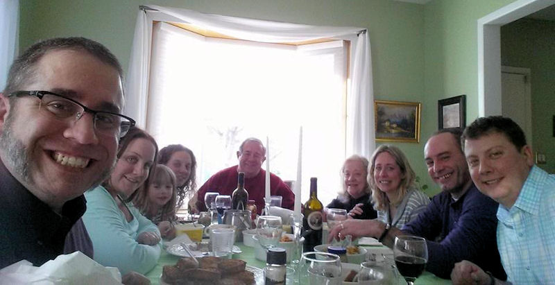 "The Bonaccorso family dines together during what Joe calls a ""Brown Bloods"" dinner. Members attending include, from left, Francis Bonaccorso, Victoria DeBlock Bonaccorso, Rachel Grace Kelly, Cathy Bonaccorso Pabst, Joseph Bonaccorso, Ann Bonaccorso, Joanne Bonaccorso Kelly, David Kelly, and Christopher Pabst. Photo courtesy of Fran and Joe Bonaccorso."