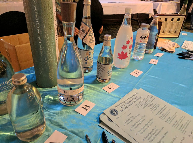 "Anyone attending the competition had the chance to submit votes for best packaging. Svalbaroi Polar Iceberg Water, Longyearbyen, Norway labeled as ""B"" placed first"
