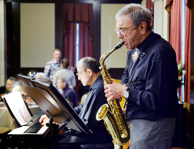 Since retiring from engineering, Joe Lagnese, Water Environment Federation (Alexandria, Va.) president from 1971 to 1972, performs as a musician in the Swingtet 8 band. Photo courtesy of Lagnese.