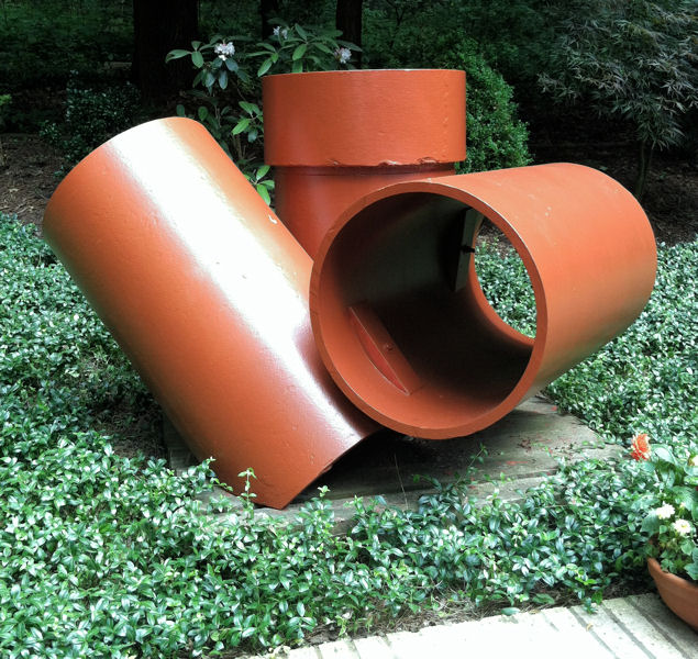 "Lagnese's sculptures, such as this piece called ""Reconfiguration,"" even have incorporated pipes leftover from a construction project that his engineering firm participated in. Photo courtesy of Lagnese."