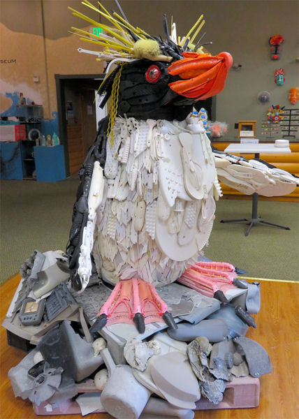 Using such art as this penguin, the Science Museum of Virginia (Richmond) fosters dialogue among all ages about the long-term hazards of litter. Photo courtesy of Washed Ashore and the Science Museum of Virginia.