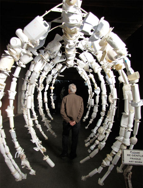 Some Washed Ashore sculptures are interactive, such as this whale skeleton that invites anyone to walk through and admire the piece from many angles. Photo courtesy of Washed Ashore and the Science Museum of Virginia.