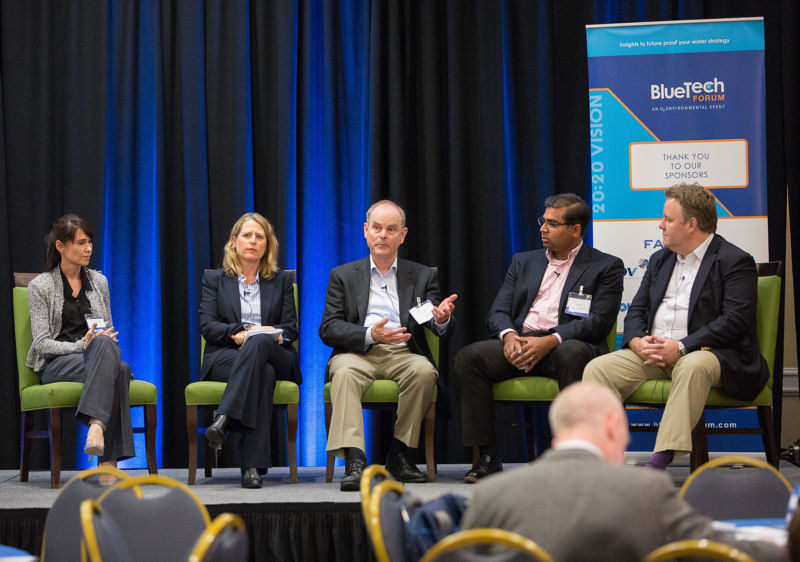 During BlueTech Forum 2016, speakers participated in the Decentralized Treatment and Re-Use panel. Speakers included, from left, Christine Martini, director, Ultra Capital LLC (San Francisco); Paula Kehoe, director of Water Resources for the San Francisco Public Utilities Commission, Robert Kennedy, CTO, Newterra (Brockville, Ontario); Sandeep Sathyamoorthy, Process and Innovation leader, Black & Veatch (Overland Park, Kan.); and David Henderson, managing partner, XPV Water Partners (Toronto). Photo courtesy of BlueTech Research (Cork, Ireland).