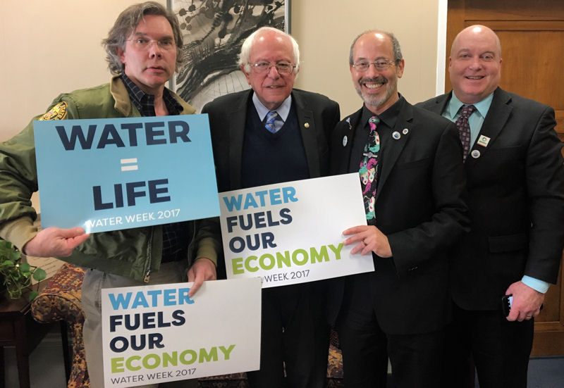 During the 2017 National Water Policy Fly-In & Expo, McCormick (third from left) joined other WEF leaders to discuss water priorities with U.S. Sen. Bernie Sand Bernie Sanders (second from left). Photo courtesy of Katie Thomas, Sen. Sanders' Policy Advisor for Energy and Environment, and Bob Fischer.