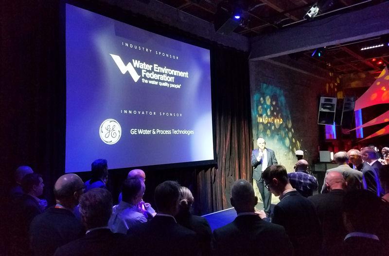 Scott Bryan, president of Imagine H2O, speaks at the WaterGala 2017. WEF photo/Renee Kayal.