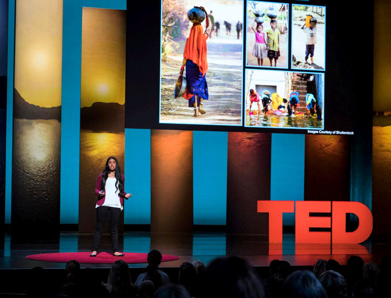 "In October, Kurup delivered a TED Talk at the TEDWomen 2016 convention in San Francisco. During her speech, ""A young scientist's quest for clean water,"" Kurup describes her background, research, and motivation driving the new social enterprise, Catalyst for World Water. Photo courtesy of Kurup."