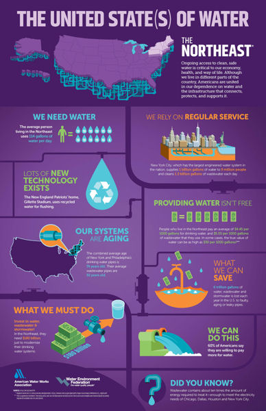 Infographics show regional details associated with water services and infrastructure value. WEF photo.