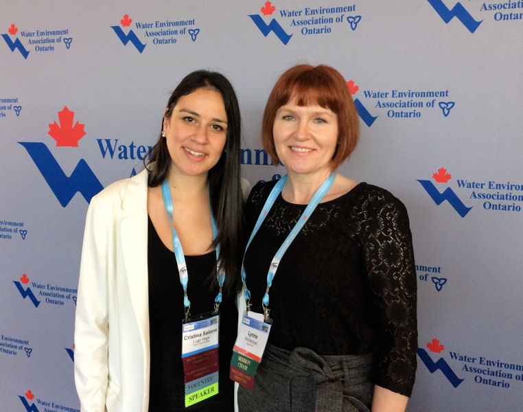From left, Cristina Lugo and her mentor Lynne Maclennan co-present about the benefits of mentoring during the 2017 Water Environment Association of Ontario (WEAO) conference. WEF photo/Caroline Pakenham.