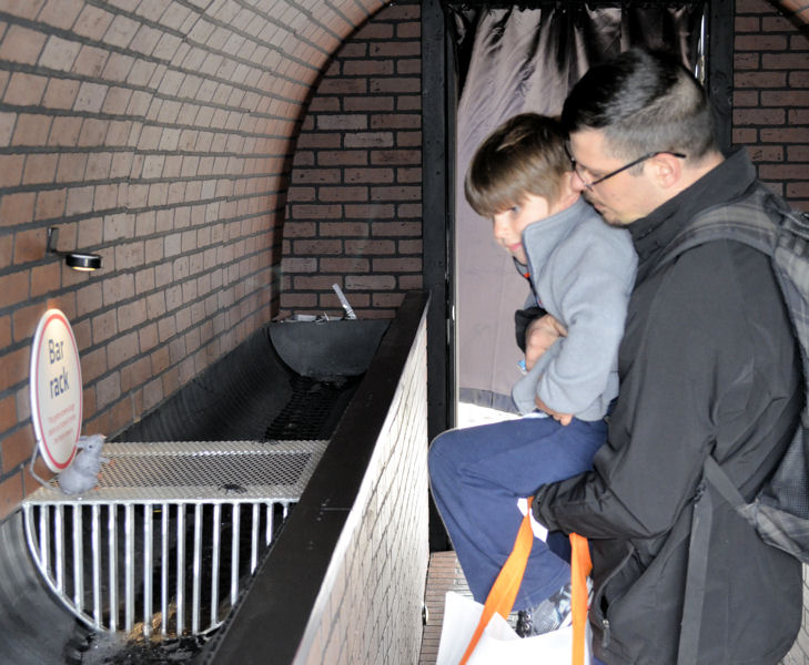 Both children and adults were able to learn something while touring the Sewer Simulator Earthfest 2017, held April 22. Photo courtesy of Jennifer Elting, NEORSD.