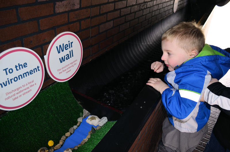 The hands-on, educational display features props and minature landscapes that show how water reaches the sewer system. Photo courtesy of Elting, NEORSD.