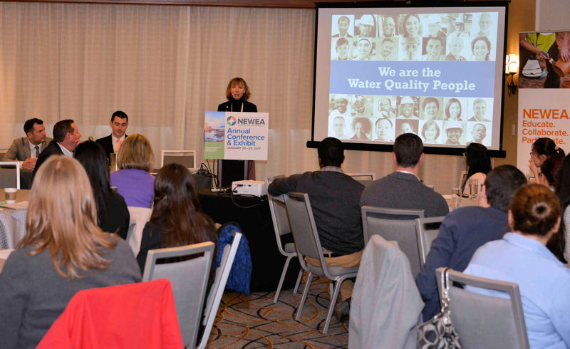 Jenny Hartfelder, Water Environment Federation (Alexandria, Va.) president-elect and vice president of MWH Global (Broomfield, Colo.), gives a presentation during the inaugural New England Water Environment Association (NEWEA) Young Professionals Summit. Photo courtesy of Amanda Lade, NEWEA.