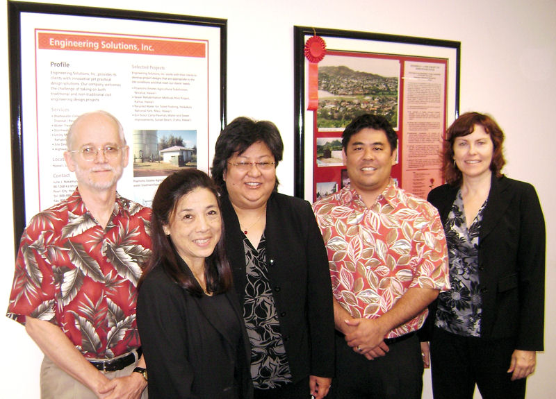 June (second from left) started her own consulting firm, Engineering Solutions Inc. (Honolulu) that employed, from left, Richard Frey, Audrey Yokota, Kyle Okino, and Janice Marsters. Photo courtesy of Bri Nakamura.
