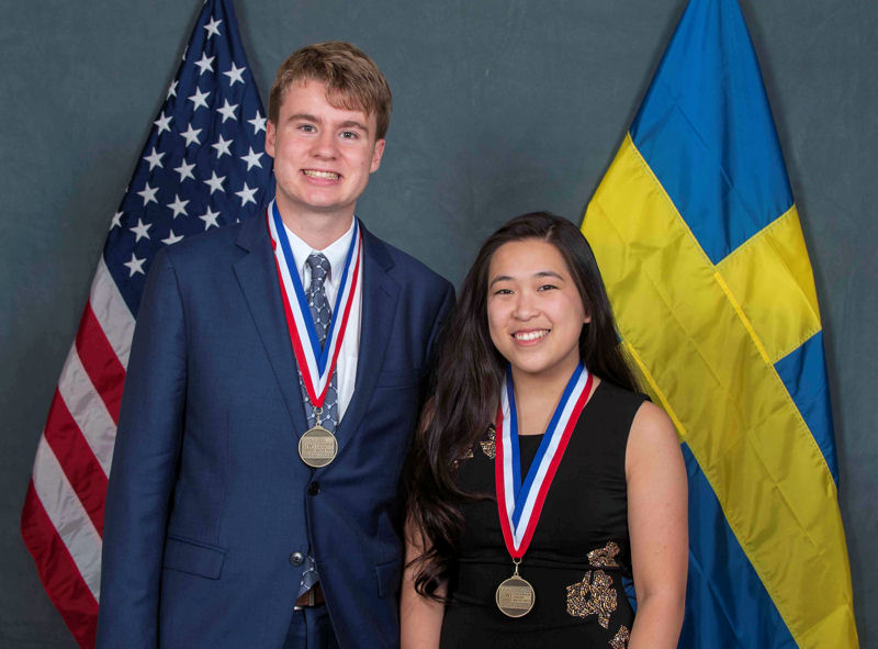 Ryan Thorpe and Rachel Chang from Manhasset, N.Y., placed first in the 2017 U.S. Stockholm Junior Water Prize (SJWP) for developing a biosensor and purification unit. Photo courtesy of AOB Photo.