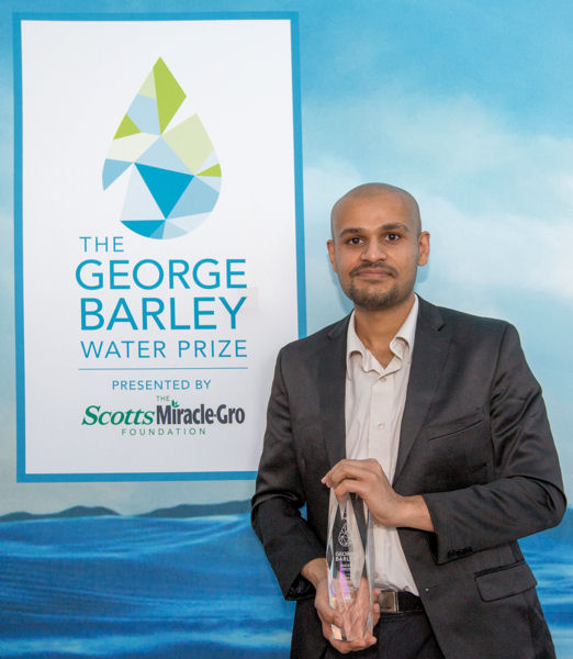 Representing overall Stage 1 winning team WETSUS NaFRAd, Prashanth Kumar prepares to join more than 75 other teams in Stage 2 of the George Barley Water Prize competition, which is already underway. In November 2020, one winning team will receive a $10 million prize. Photo courtesy of Jenny Abreu Photography.