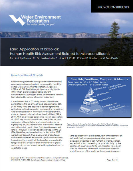 Land Application Biosolids Fact Sheet