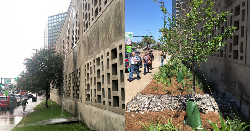 New Orleans city hall is shown before (left) and a year after (right) the WEFTEC service project. Volunteers constructed a bioswales to help manage stormwater. Before photo courtesy of Tyler Antrup, New Orleans City Planning Commission. After photo courtesy of Danielle Duhe, Dana Brown & Associates (New Orleans).