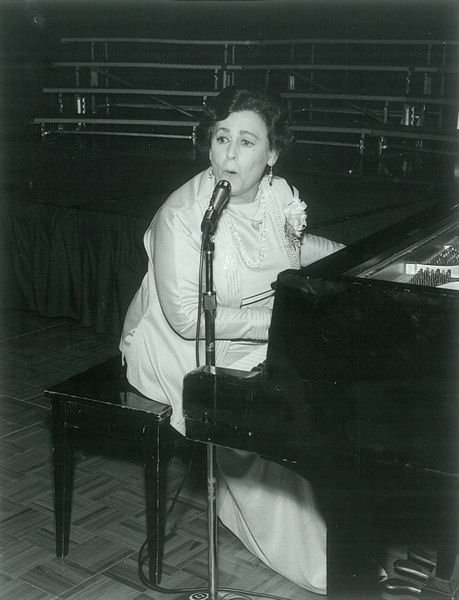 """Bertha Lang performs """"The WPCF Fight Song: A Fight Song for Clean Water"""" during the WEF annual conference in 1979. WEF archives photo."""