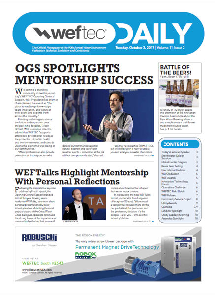 Click to see the Oct. 3 issue of the WEFTEC 2017 Daily.