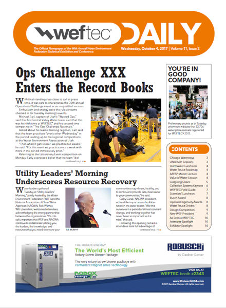 Click to see the Oct. 4 issue of the WEFTEC 2017 Daily.