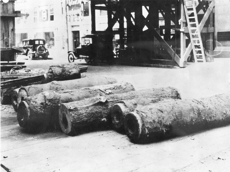 The last wooden pipe in the city was taken out of service in 1859, but some were left in the ground. Abandoned water pipes have been uncovered during street excavations, such as these pipes removed in 1925. Photo courtesy of the Philadelphia Water Department Historical Collection.