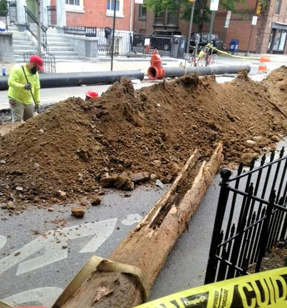 When replacing a water line, construction crews in Philadelphia unearthed wood pipes that had been installed more than 200 years ago. Photo courtesy of the Philadelphia Water Department Historical Collection.