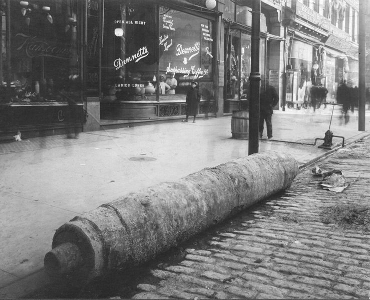The last wooden pipe in the city was taken out of service in 1859, but some were left in the ground. Abandoned water pipes have been uncovered during street excavations, such as these pipes (and those above) removed in 1901. Photo courtesy of the Philadelphia Water Department Historical Collection.