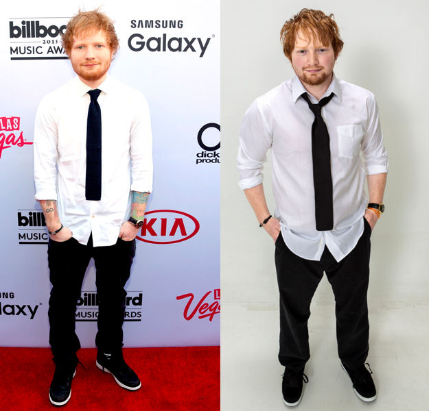 Goss (right) attends events to perform and take pictures with attendees as a look-alike for the singer–songwriter Ed Sheeran (left). Photo courtesy of Mirror Images.