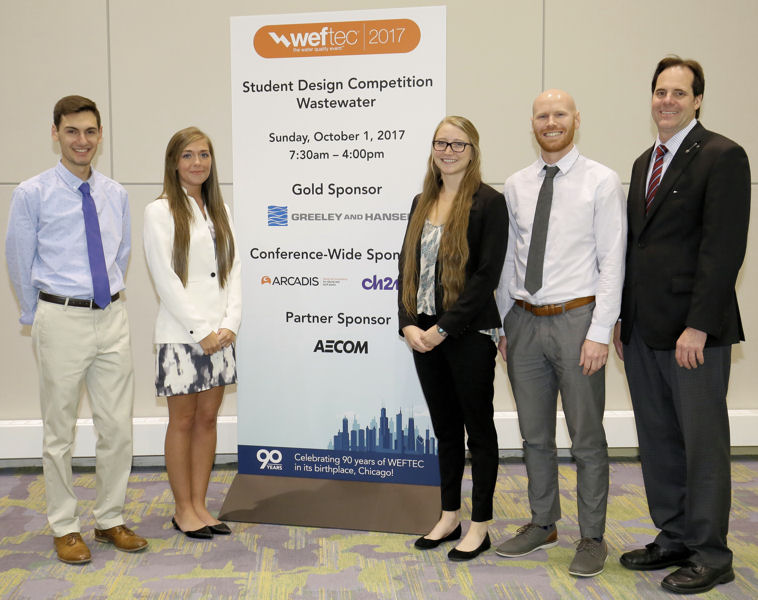 From left, University of Colorado, Boulder team members Elias Katsoulas, Riley McConnell, Sarah Vander Meulen, Alan Bracewell, Dillion Rodenbaugh (not pictured), and their faculty adviser, Christopher Corwin (not pictured) received their first-place award from WEF President-Elect Tom Kunetz. Photo courtesy of Oscar and Associates.