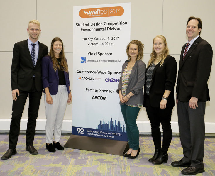 From left, University of Guelph (Ontario) team members Everett Snieder, Nicole Ludzki, Emily Angermann, Madelaine Prince, and their faculty adviser, Andrea Bradford (not pictured) receive their first-place award from WEF President-Elect Tom Kunetz. Photo courtesy of Oscar and Associates.